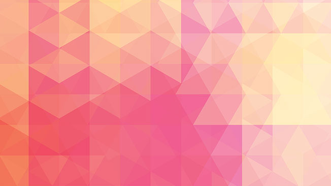 FAQs graphic - pink, orange and yellow triangles