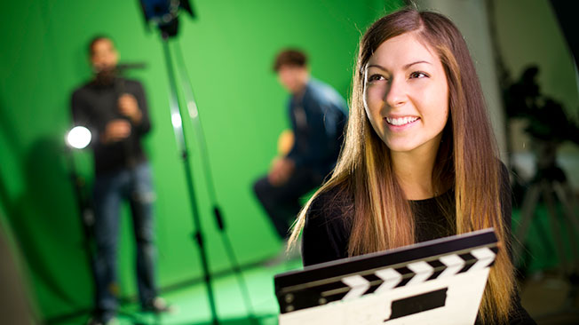 Other rightsholders graphic - image of woman in front of clapperboard, greenscreen in background