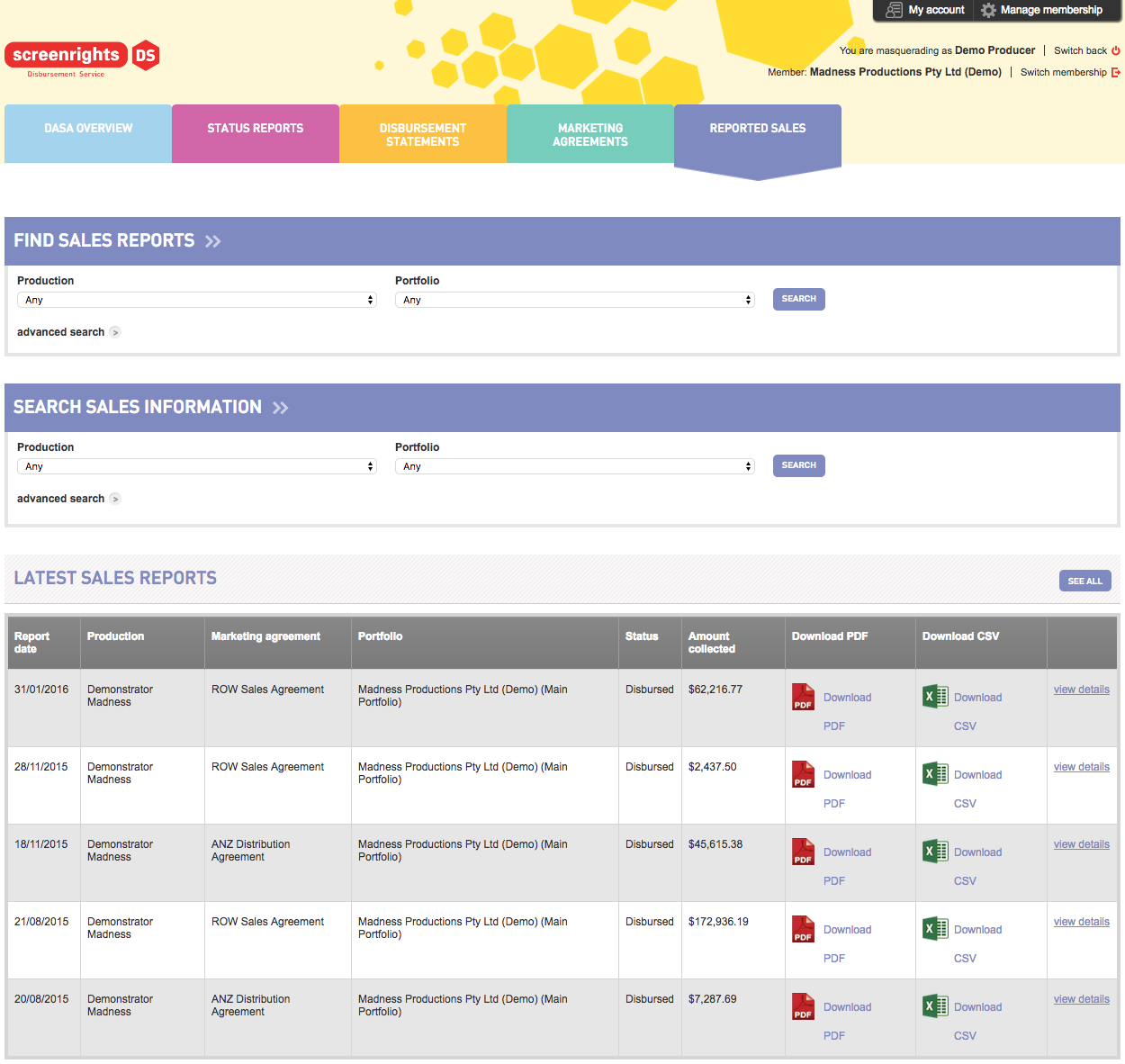 Easy Access to Sales Reports screenshot