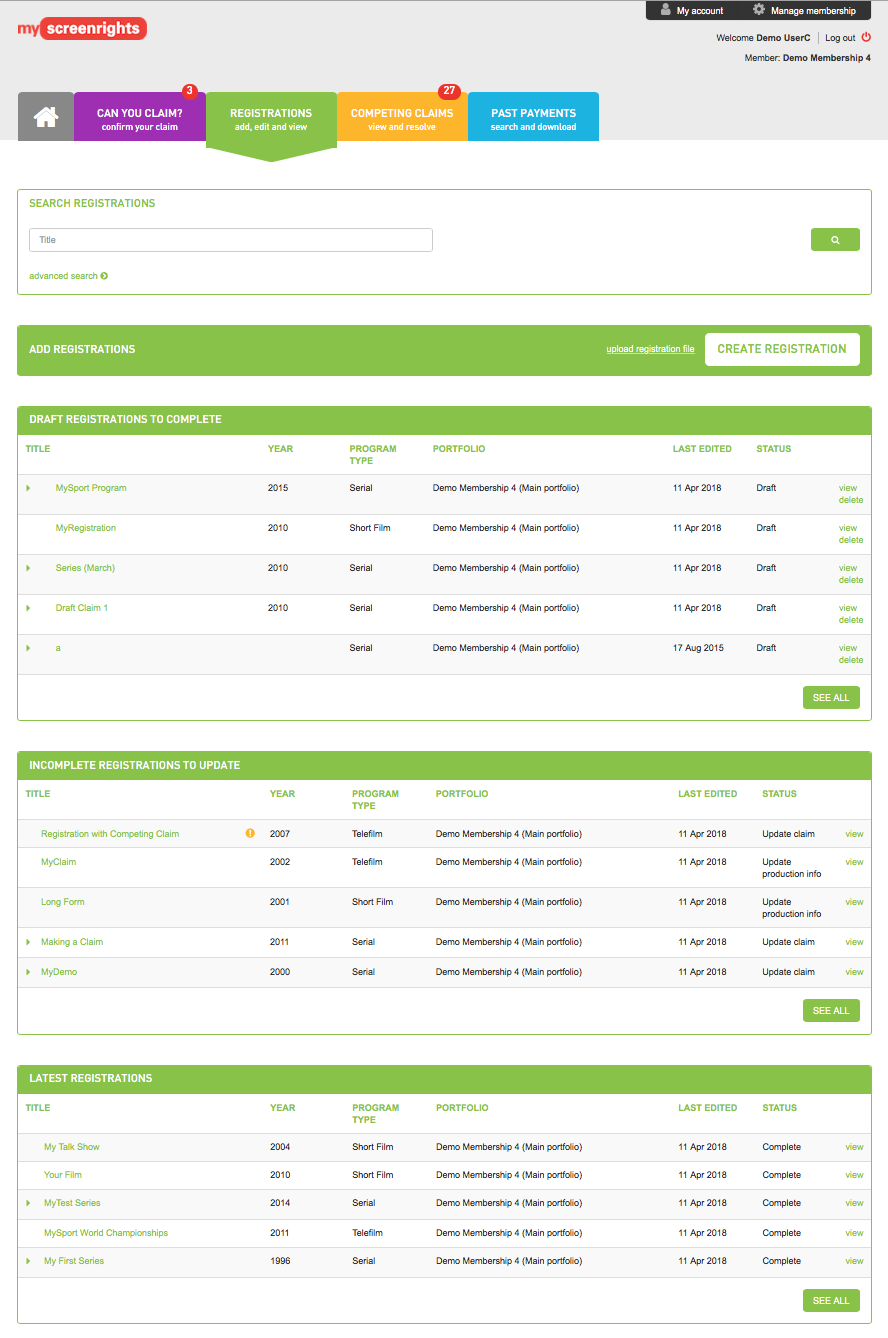 MyScreenrights - Registrations screenshot